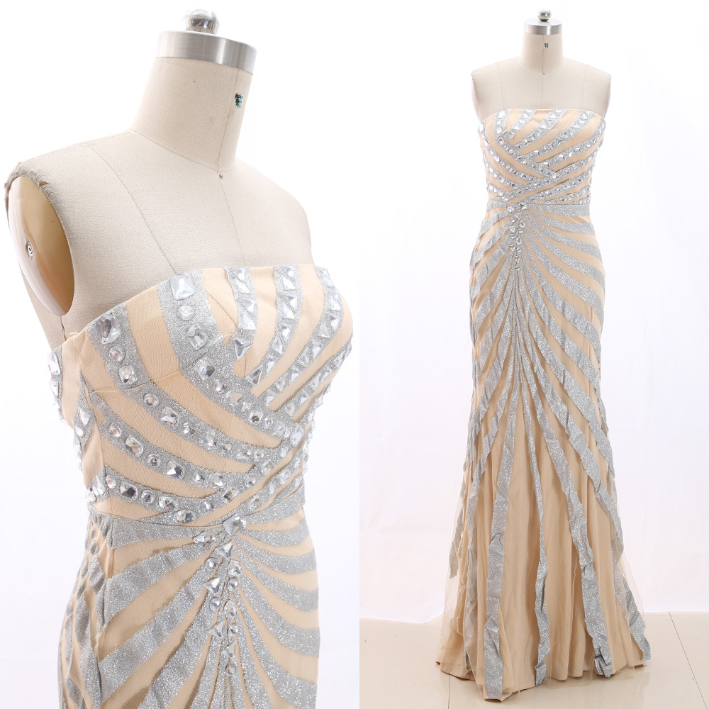 MACloth Silver Sheath Strapless Floor-Length Long Crystal Jersey   Prom     Dresses     Dress   M 266195 Clearance