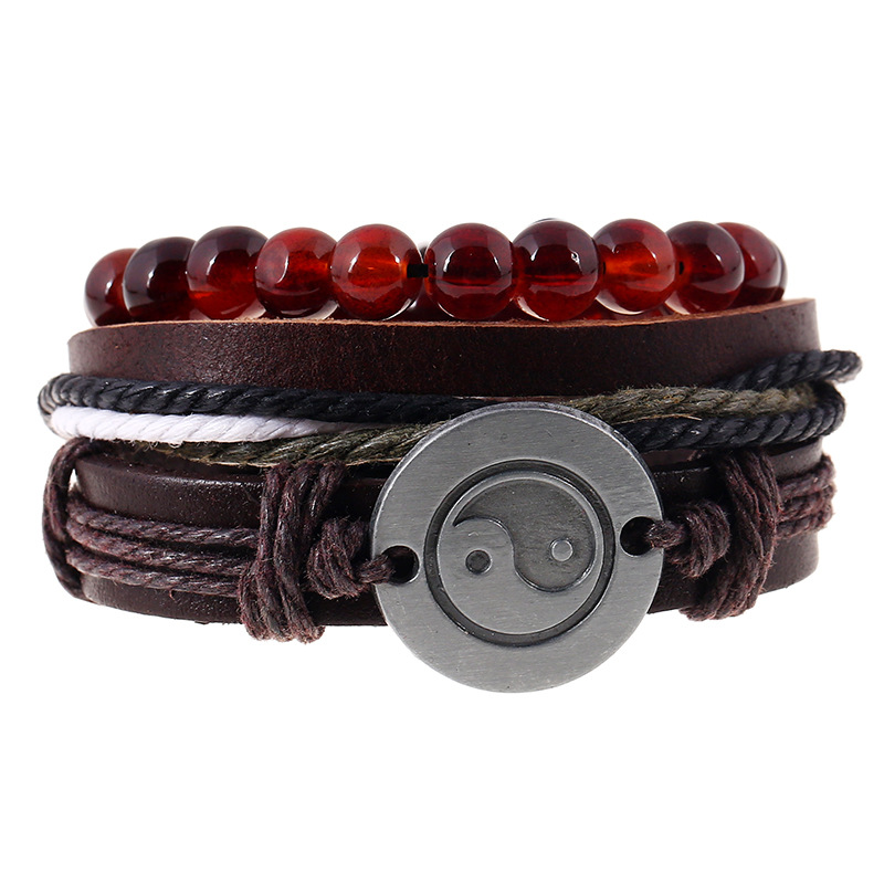 1232d5f7249eb7 3pcs/set Retro Rope Leather Bracelet Men Hand Woven Taiji yin yang charm  Bracelet For Women Beaded Bracelet Male Female bracelet-in Charm Bracelets  from ...
