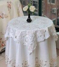 Blanco Pastoral floral bordado mantel redondo para restaurant Cafe Decoración Del Hogar 1 unids precio 5 tamaños Envío Gratis