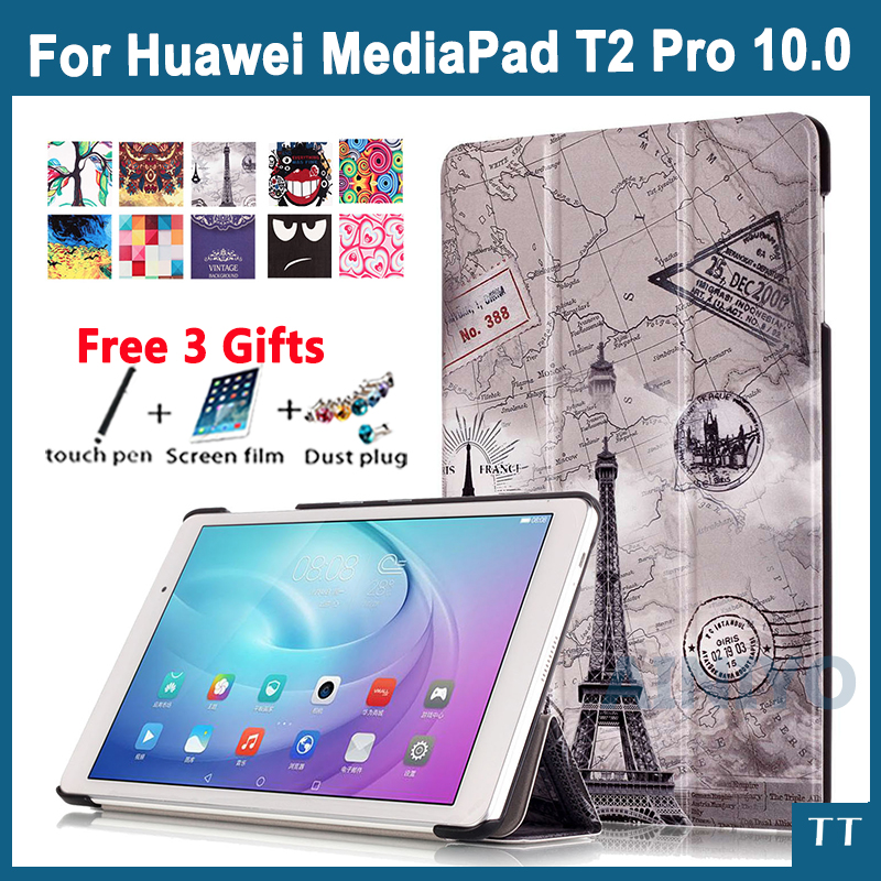 High Quality Pu Leather Case Cover For Huawei MediaPad T2 Pro 10.0 FDR-A01W FDR-A03L 10. 1 Tablet PC protective case+Screen film pu leather case cover for huawei mediapad yougth t2 pro 10 inch tablet tpu protective case for huawei m2 fdr a01w fdr a03l gifts