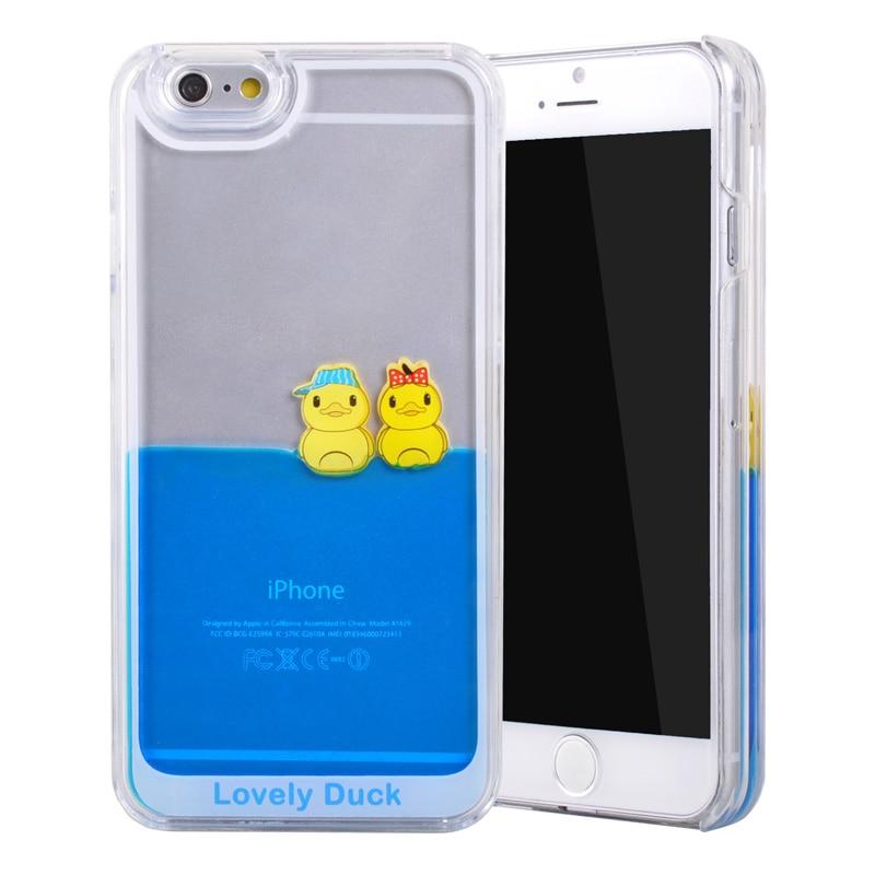 LANCASE Pour l iphone 5 Cas 3D Liquide S coulant De Natation Jaune Canard dur PC