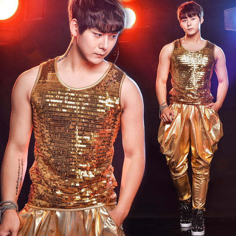 Jazz Dance Costumes Gold Sequin Vest Pants Round Neck Suit Nightclub Bar Pole Dancing Clothing Male Singer Dancer Costumes DT781