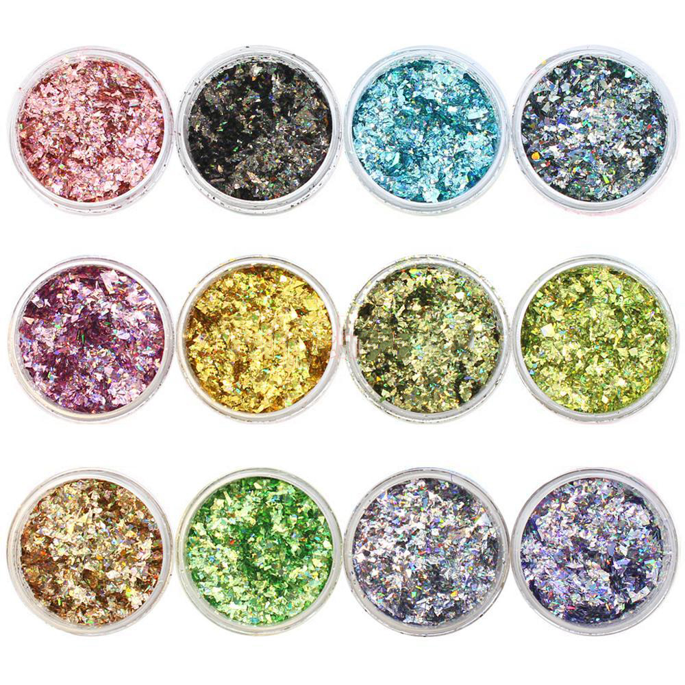 Holographic Chunky Iridescent Glitter Irregular Festival Cosmetics Sequins Nail Ultra-thin Flakes 12 Jars
