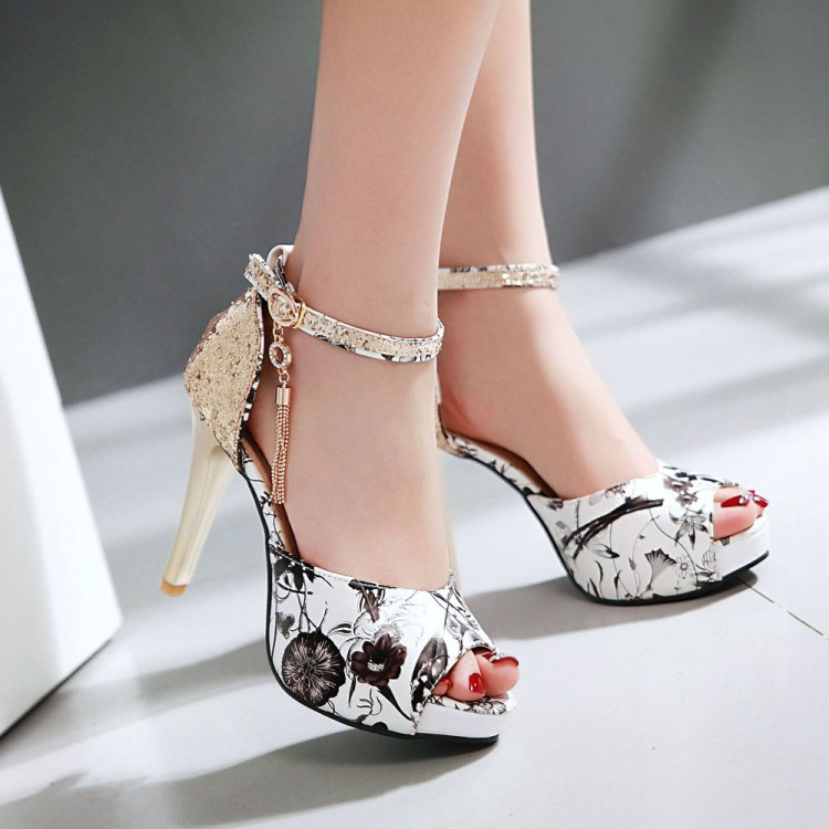 2016 New Summer Fashion Printing Tassel Wind Buckle Sandals High Heels Women Fish Mouth Paltform Shoes Tide Small Big Size 30-43 hot sale 2016 summer new hollow flowers fish mouth high heeled women s sandals plus size 34 43 shoes