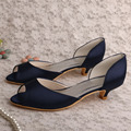 Wedopus MW570 Navy Satin Color Bridal Wedding Shoes Peep Toes Kitten Heels Custom Handmade