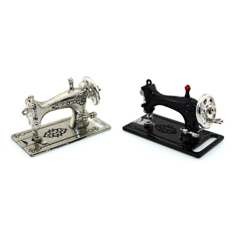 Mini Miniature Silver Sewing Machine Toy for 1//12 Scale Dollhouse Decoration