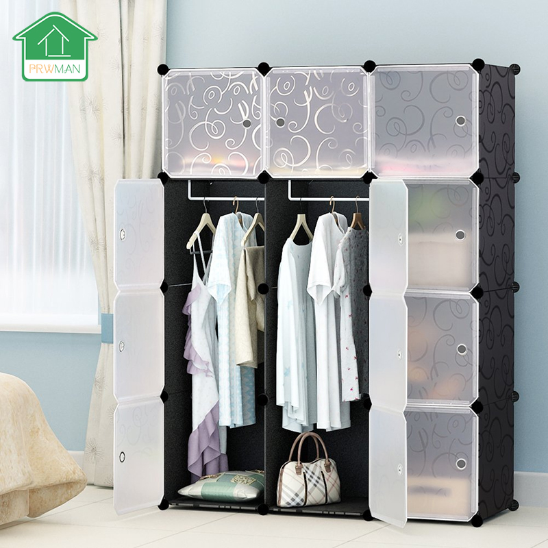 PRWMAN 12 Cube 2 Hook UP DIY Magic Piece of Resin Storage Cabinets Bedroom Wardrobe Furniture Assembly Student Wardrobe R1003B