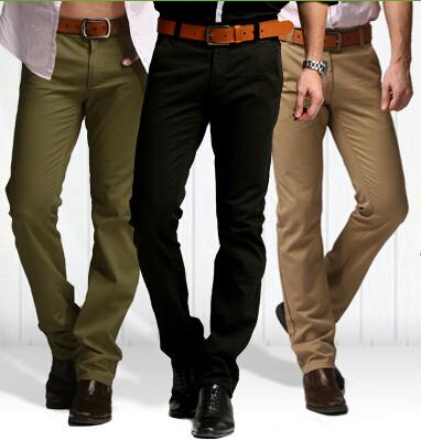 Chegada nova calça casual dos homens Marca de Moda vestido de terno calças de Algodão calças dos homens calças retas magros 8