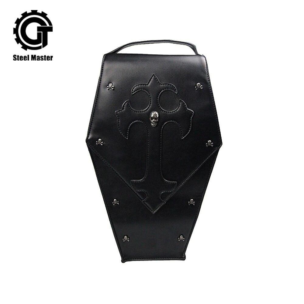2018 Punk noir cuir sacs à dos voyage crâne épaule sacs mode femmes décontracté croix Rivet sac à dos