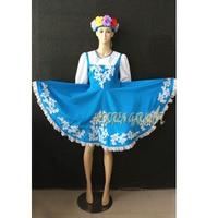 High Quality Customized Women Or Children Russian National Dress With Flower Headwear,Blue Folk Dancing Dresses Retail Wholesale