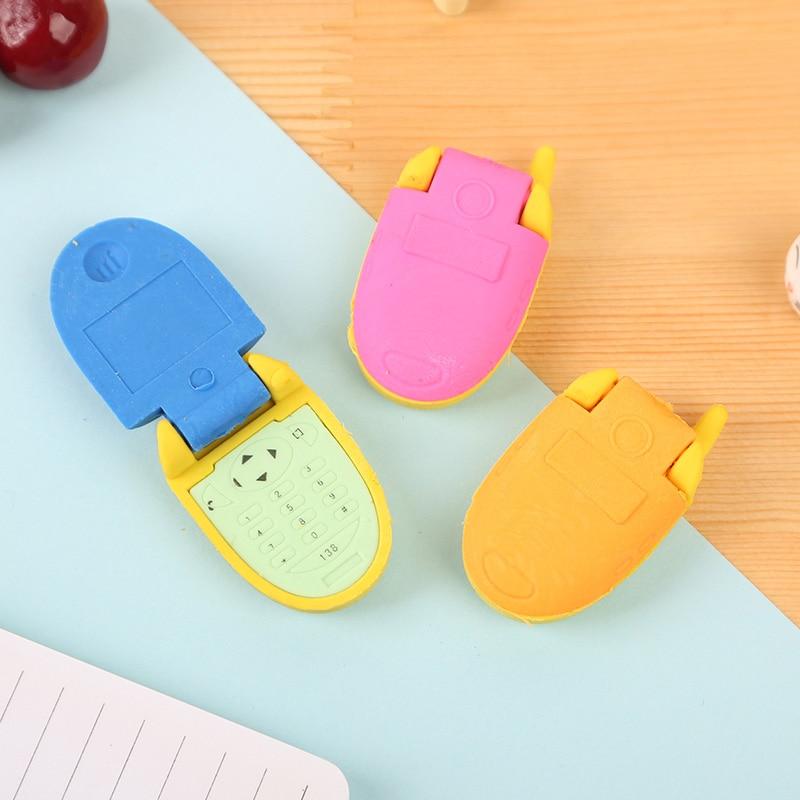 Купить с кэшбэком 1X  Creative flip phone cartoon styling eraser school supplies school office supplies material escolar papelaria gift for kids
