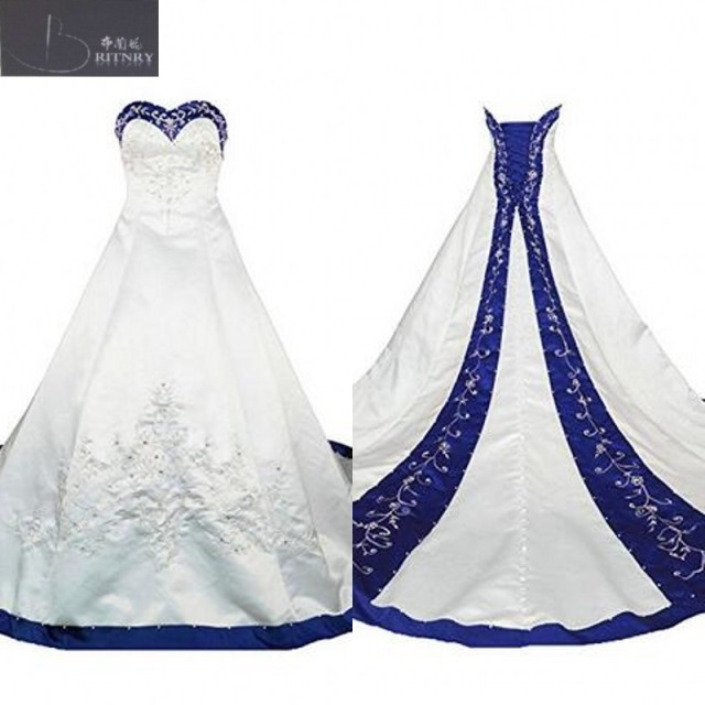 b791bef41aab classic royal blue and white wedding dresses sweetheart neck a line  embroidery formal chapel bride dress lace-up back