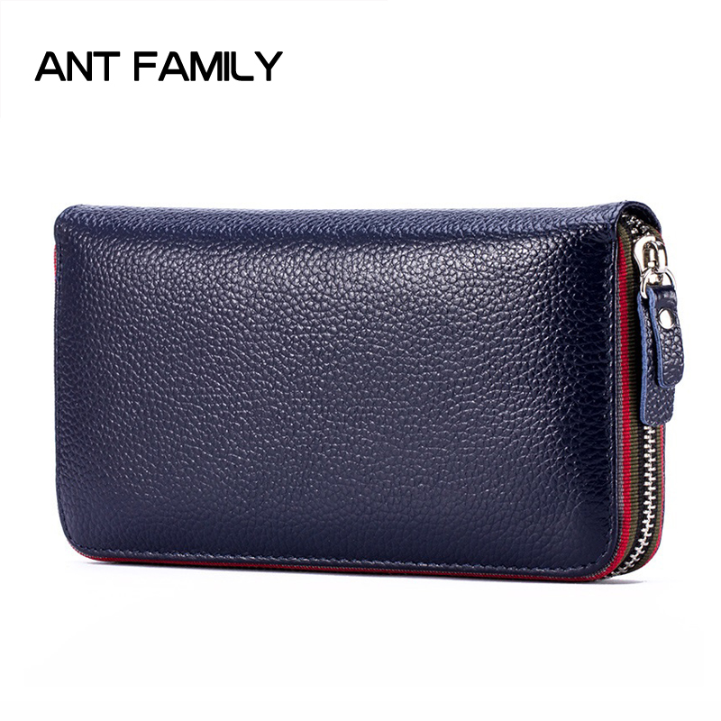 Women Wallets Fashion Genuine Leather Wallets Women Long Zipper Card Holder Wallet Clutch Female Wallets Lady Cow Leather Purse wallet women small cow leather mini short wallets id card holder wallet coin purses real leather wallets for lady clutch female
