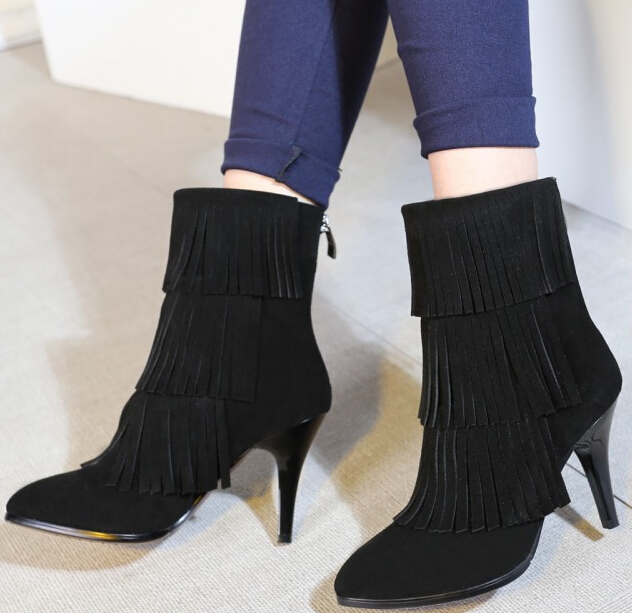 Women Spring Autumn Thin High Heel Genuine Leather Flock Tassel Round Toe Back Zipper Fashion Ankle Boot Size 34-39 SXQ0929 vinlle women boot square low heel pu leather rivets zipper solid ankle boots western style round lady motorcycle boot size 34 43