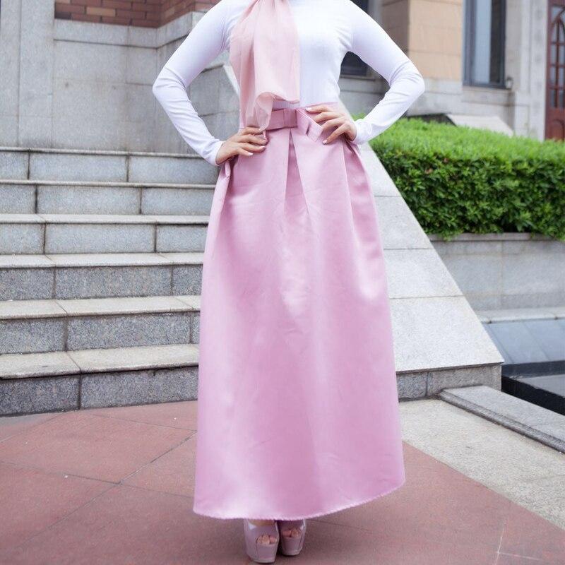 Plus Size Skirts Faldas Mujer Moda 19 Abaya Dubai Turkish Long Pleated Maxi High Waist Skirt Women Jupe Longue Femme Skirts 5