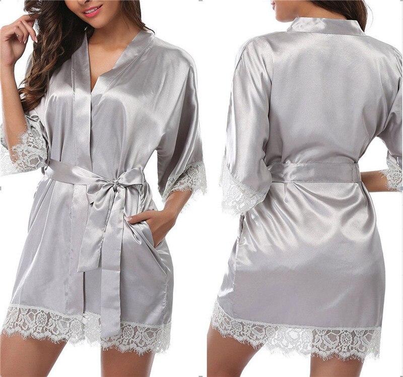 Women Lace Lingerie Belt Bath Robe Nightwear Women Imitation Lace Sashes Robe Nightdress Loose V Neck Kimono Satin Bath Robe