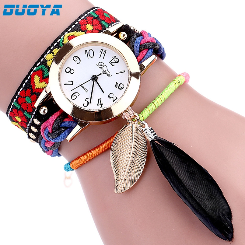 Duoya Brand Fashion Dial Quartz Watch Women Wristwatch Steel Luxury Bracelet Watch Multilayer Leather Wrist Watch Dropship #N10