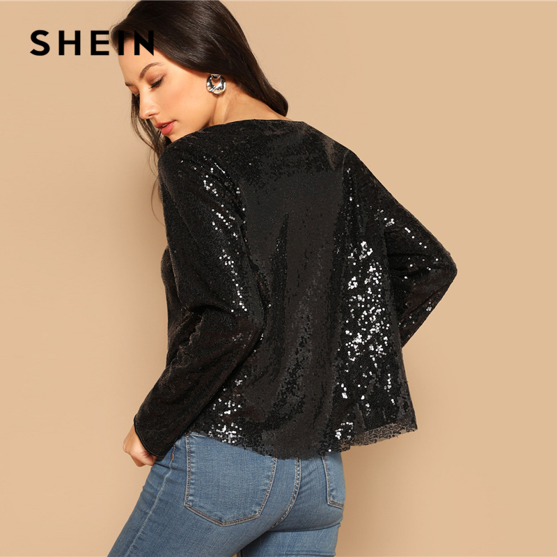 e27f0a4889 SHEIN Black Curved Hem Sequin Top Women 2019 Spring Round Neck Long Sleeve  Blouse Highstreet Casual Solid Tops and Blouses -in Blouses & Shirts from  Women's ...