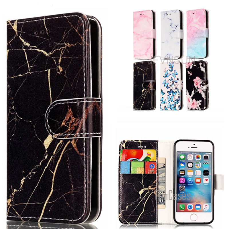 Case For Apple iPhone 5s 5 SE Case Fashion Marble Flower Pattern Wallet Magnetic Stand Leather Flip Cover For iPhone 5s