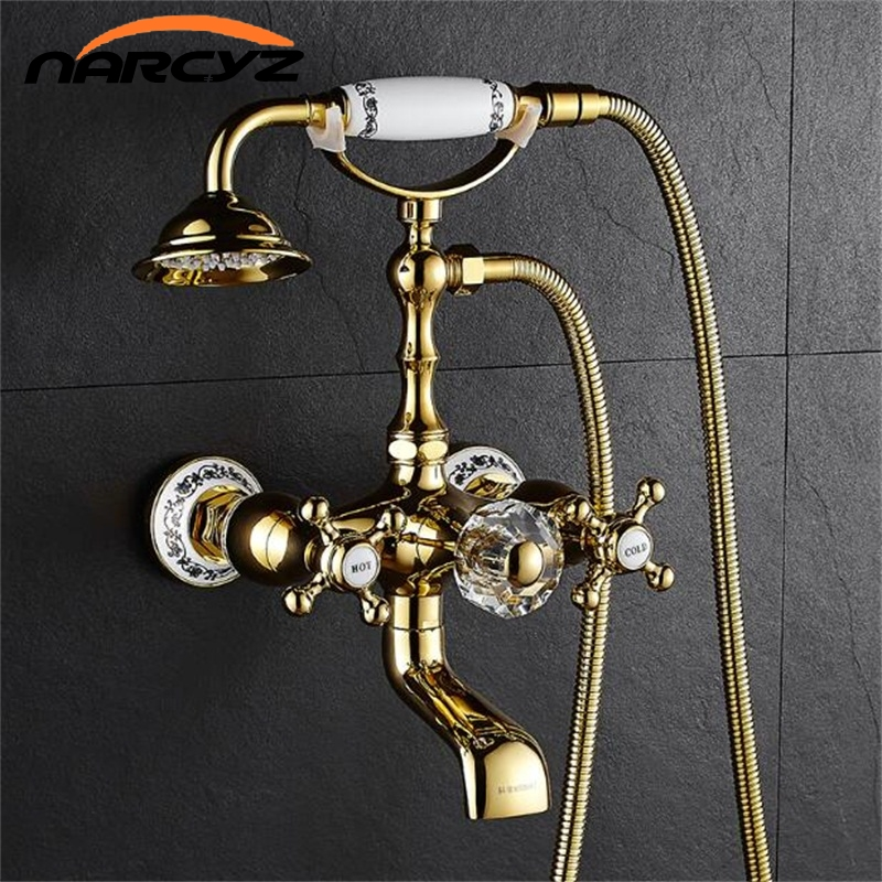 New Bathtub Faucets Luxury Gold Brass Bathroom Faucet Mixer Tap Wall Mounted Hand Held Shower Head