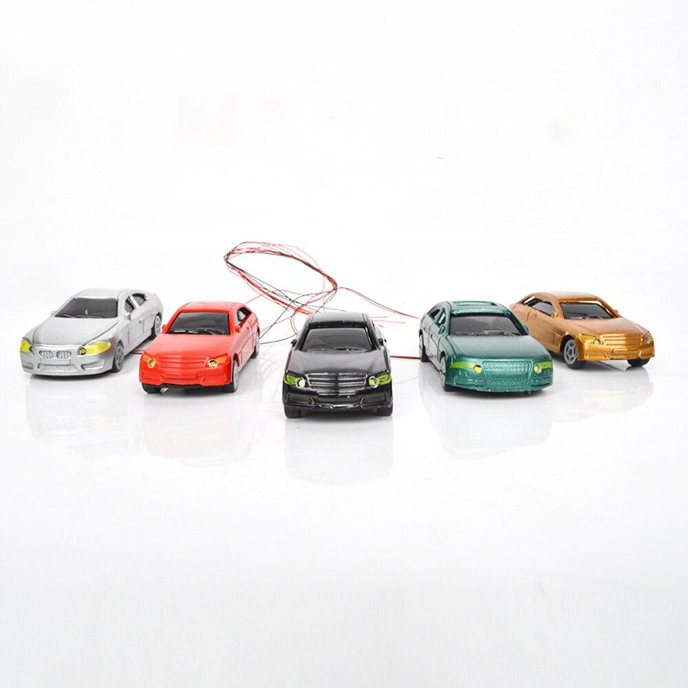 20pcs 1:75/100/150/200 Scale12V LED Model Illuminous Car Toy Miniature Architecture Vehicle For Diorama Road Street Scene Making