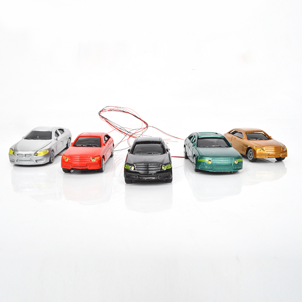 20pcs Scale Model light <font><b>Car</b></font> 12V LED Model Illuminous <font><b>Car</b></font> Toy Miniature Architecture Vehicle For Diorama Road Street Scene Making image