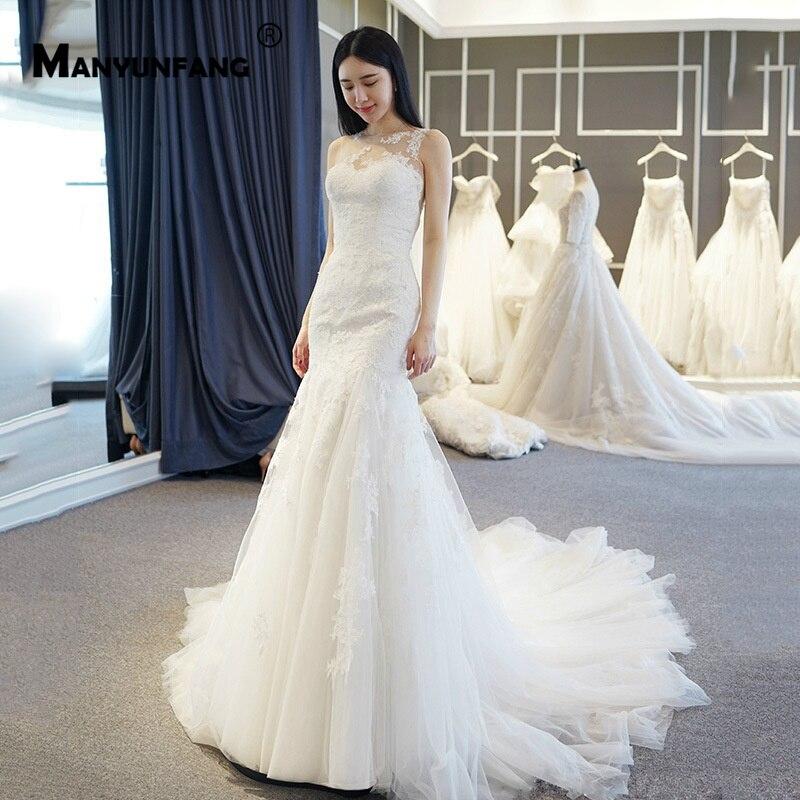 Sexy New Style Bridal Mermaid Wedding Dress Ivory Buttons Back Chapel Train Vestidos de Noivas Charming Design Wedding Gowns