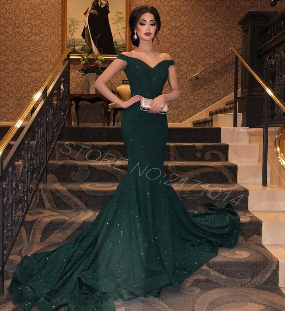 2019 Elegant Sparkly Dark Green Off The Shoulder Backless Mermaid Long Arabic New Formal   prom     Dresses