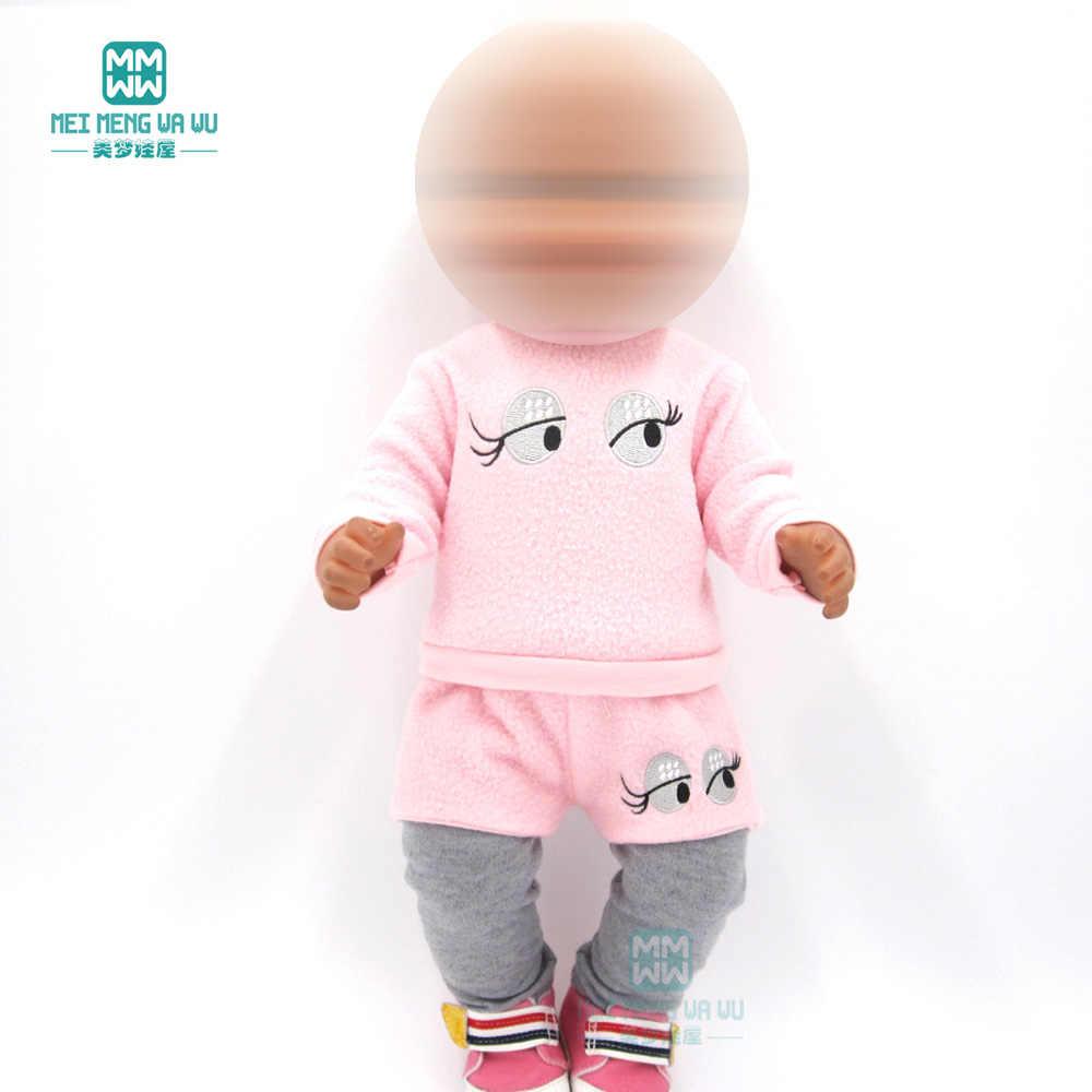Одежда для куклы подходит 43 см лысый ребенок игрушка новорожденный кукла и американская кукла розовый меховой воротник пальто + брюки