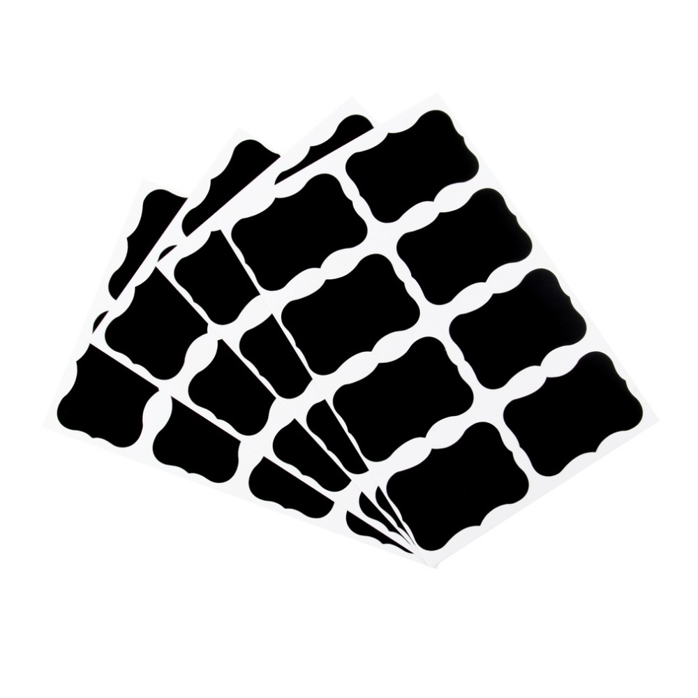 YKS 36Pcs/Set Fancy Blackboard Sticker Craft Kitchen Jar Organizer Labels Chalkboard Stickers Edged Labels Black New Sale