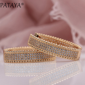 Image 4 - PATAYA New 585 Rose Gold Micro Wax Inlay Natural Zircon Long Big Dangle Earrings Women Wedding Party Extreme Luxury Cute Jewelry