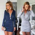 Sexy Dress 2016 Summer Long Sleeve Deep V Mini Vetement Femme Fashion Robe Moulante Wrap Damen Kleider Vestiti Donna Jurken AX23