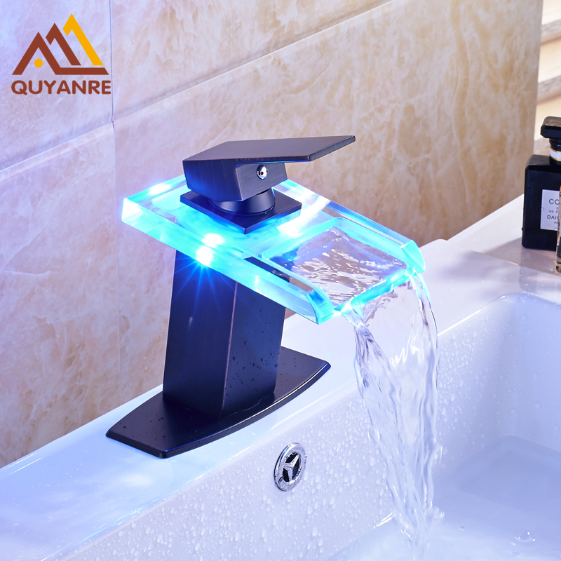 Black Color Basin Mixer Faucet Deck Mount LED Light Waterfall Spout with 6 Inch Plate Water Tap Free Shipping
