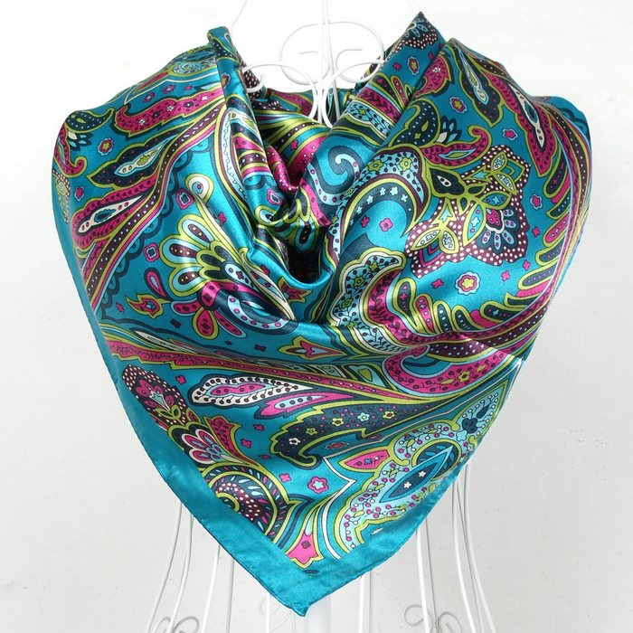 2015 New Arrival Square Silk Scarf Printed,Brand Satin Scarf Shawl 90*90cm Women Blue Polyester Scarves For Spring,Winter,Autumn