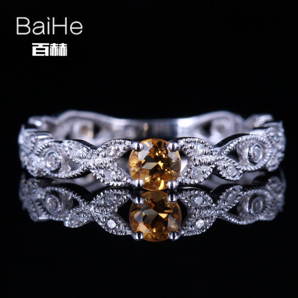 BAIHE Sterling Silver 925 0.22CT Certified Round CUT Flawless 100% Genuine Citrine Engagement Women Trendy Fine Jewelry Ring цена