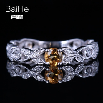 BAIHE Sterling Silver 925 0.22CT Certified Round CUT Flawless 100% Genuine Citrine Engagement Women Trendy Fine Jewelry Ring
