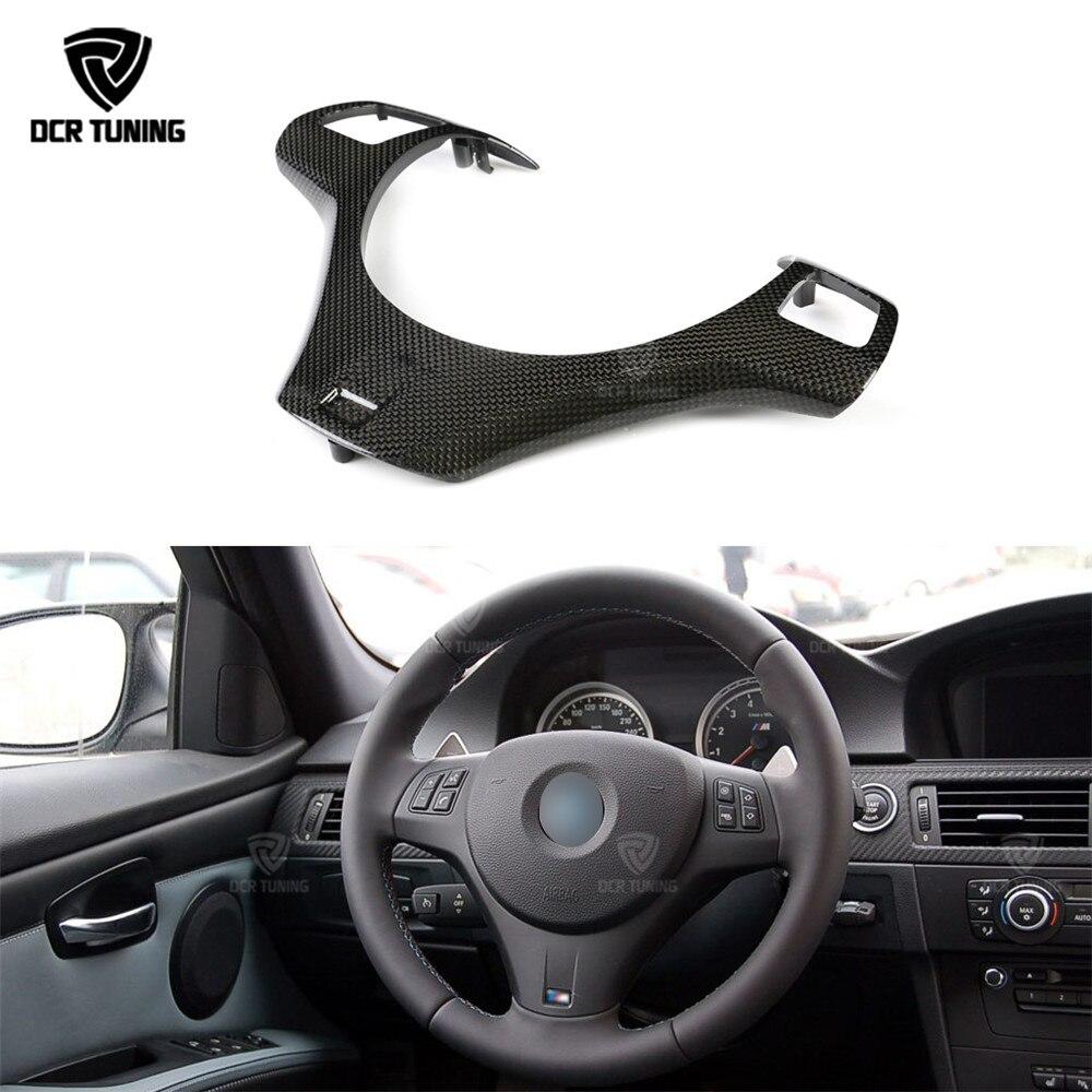 цена на For BMW E90 E92 E93 M3 Carbon Steering Wheel Trim Cover 2008 2009 2010 2012 2013 Carbon Fiber Steering Wheel Trim Replace Style