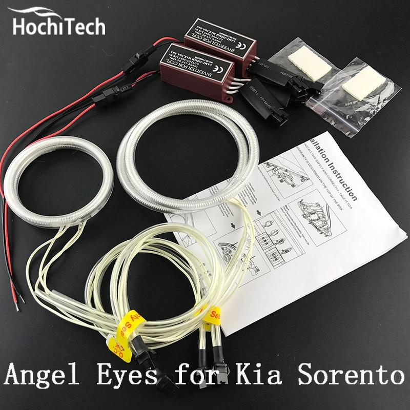 цена на HochiTech Excellent CCFL Angel Eyes Kit Ultra bright headlight illumination for Kia Sorento R 2009 2010 2011 2012