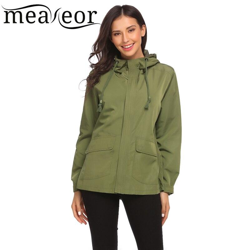 Meaneor Basic Hooded Waterproof Jacket Autumn Winet Women Long Sleeve Windbreak Solid Outwear Coats Casual Regular Fit Jackets