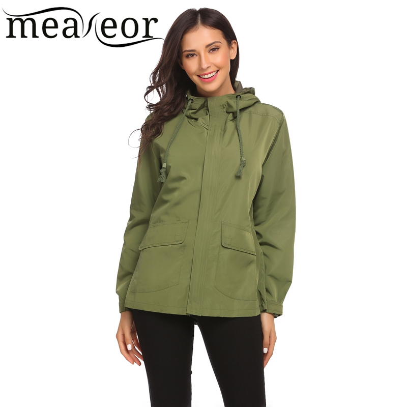 Meaneor Basic Hooded Waterproof Jacket Autumn Winet Women Long Sleeve Windbreak Solid Outwear Coats Casual Regular Fit Jackets