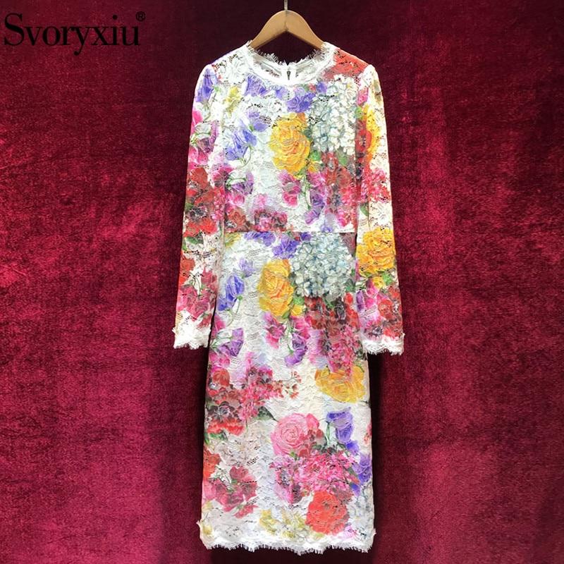 Svoryxiu ฤดูใบไม้ร่วงฤดูหนาวรันเวย์หรูหราชุดสตรี Elegant หญิงยาวแขน Vintage Rose ที่มีสีสันลูกไม้ชุด-ใน ชุดเดรส จาก เสื้อผ้าสตรี บน   1