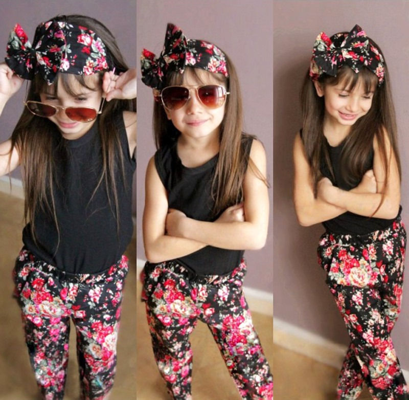 2016 New Baby 3PCS Girls Vest T-shirt Floral Pants Hair Band Set Kids Outfits Clothes 1-8Y new baby character dinosaur overalls white t shirt lovely baby costumes baby outfits