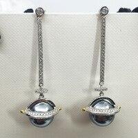High quality jewelry planet series meteor earrings for women pearl long earrings creative personality zircon ear jewelry