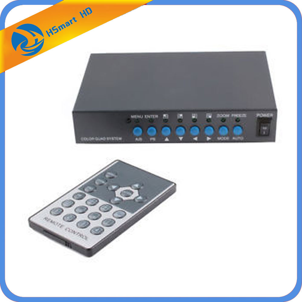 4CH CCTV Camera Video Quad Processor Video Splitter VGA Output w/Remote Control Channel Video Multiplexer podofo metal shell hd color video quad splitter cctv video camera processor system kit switcher remote control 6 bnc adapter