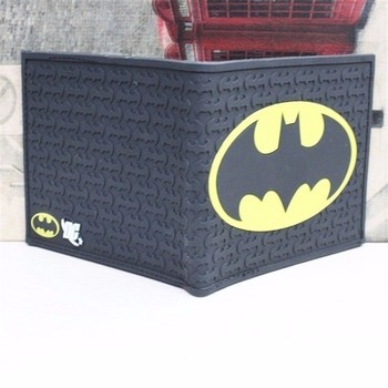 ISKYBOB New Batman Emblem Silicone Bifold Wallet Men's Billfold Purse Men Wallets