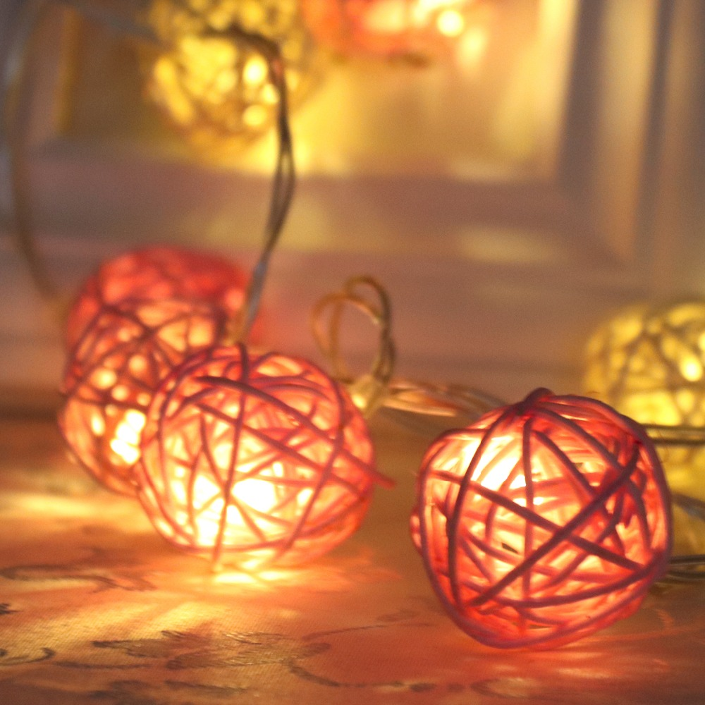 Led Rattan Balls Fairy String Decorative Lights Warm White Light Garland For Christmas Wedding Garden Party Decoration IL