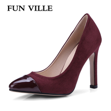 FUN VILLE Summer Women Pumps shoes Thin heels High quality suedu high Sexy Party for women