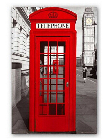 Fashion Home Decoration Custom London Red Telephone Booth Wallpaper Stylish Pp Gule Poster
