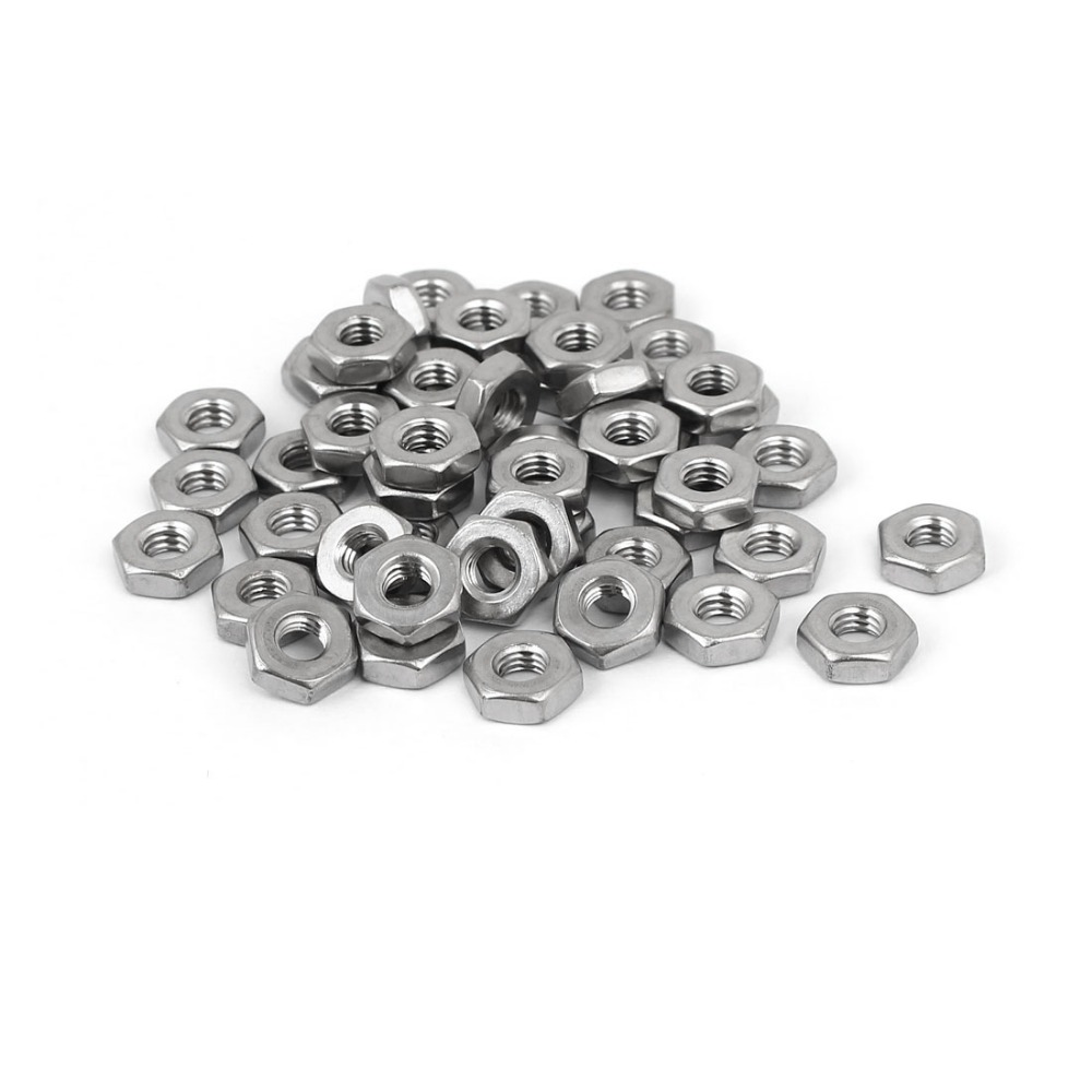 50pcs High Quality #10-32 304 Stainless Steel Finished Metric Hex Nut Silver Tone Hardware Fastener Accessories