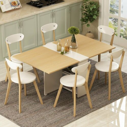 Us 150 99 Folding Extendable Dining Table Pear Wood Color Movable With Storage Rack Chairs Not Included In Tables From Furniture On